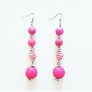 💟 2/$10 + 3/$15 ● magenta bead dangle earrings